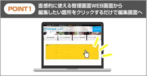 POINT1:直感的に使える管理画面WEB画面から編集したい箇所をクリックするだけで編集画面へ