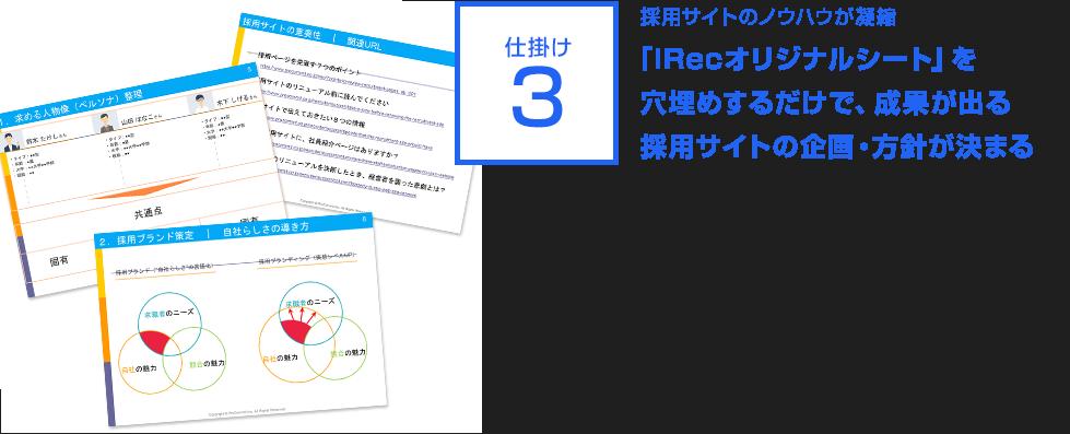 仕掛け3:採用サイトのノウハウが凝縮.「iRecオリジナルシート」を穴埋めするだけで、成果が出る採用サイトの企画・方針が決まる